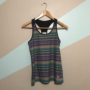 OLD NAVY Gray Striped Multicolor Athletic Tank